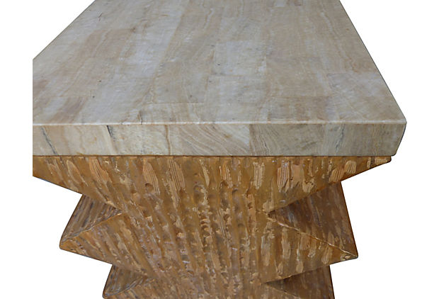 Modernist Geometric Tessellated Stone Table Bases Modernism