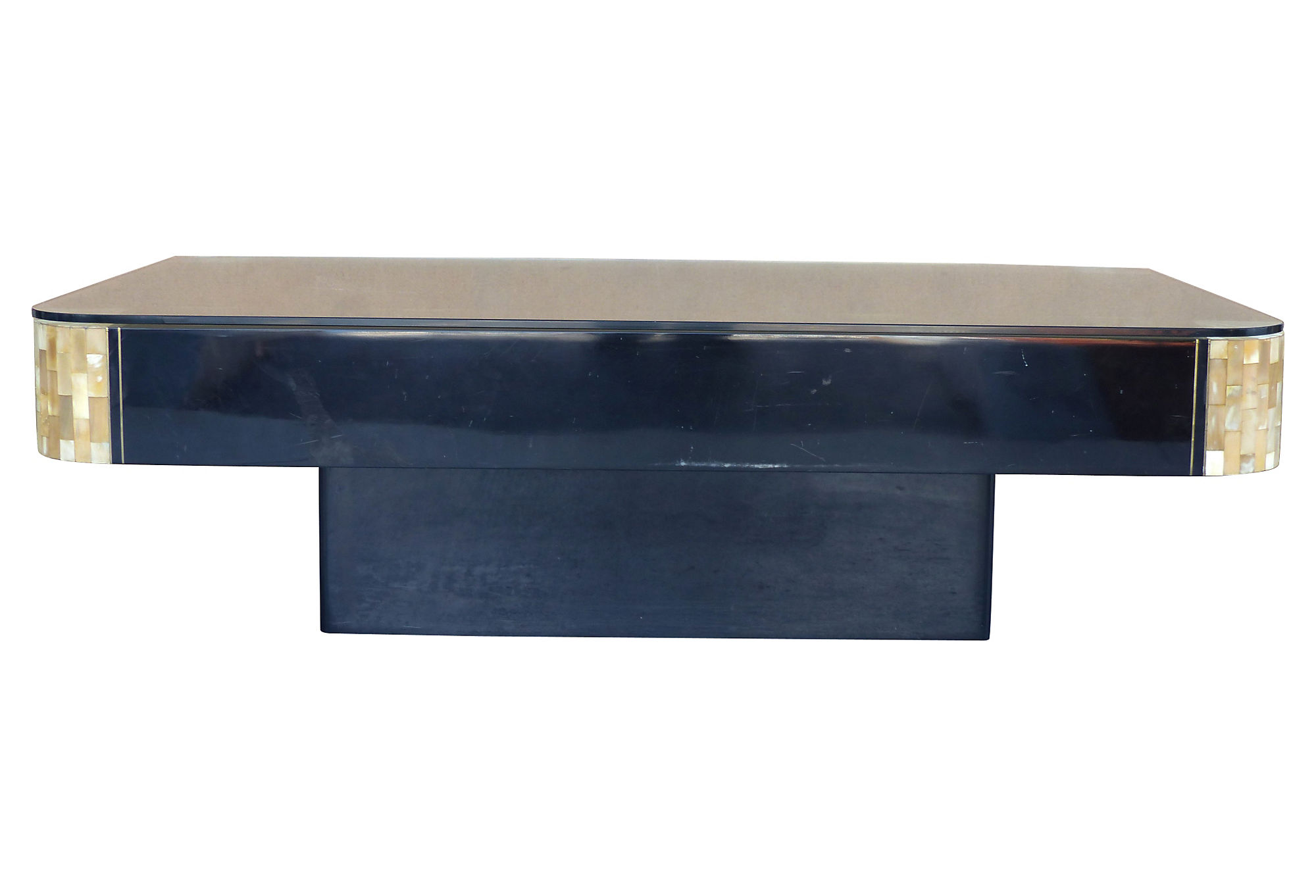 Lacquered Wood Tessellated Horn W Brass Coffee Table Modernism