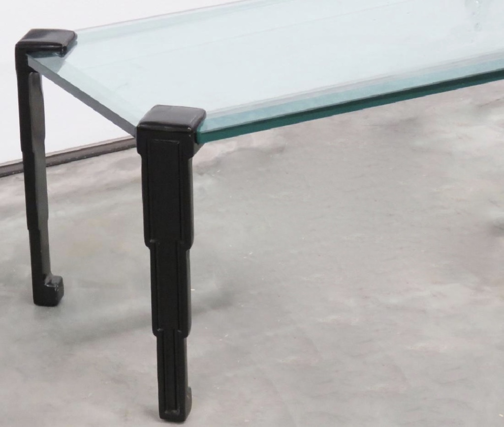 Art Deco Glass Top Coffee Table With Skyscraper Motif Modernism