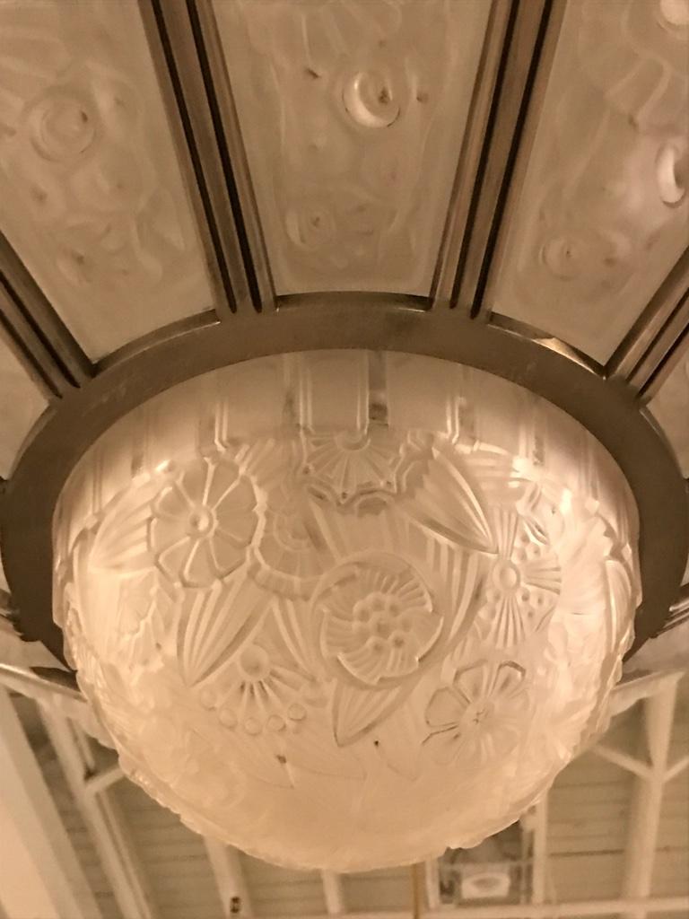 French art deco chandelier by ganet et michon modernism for Art et decoration