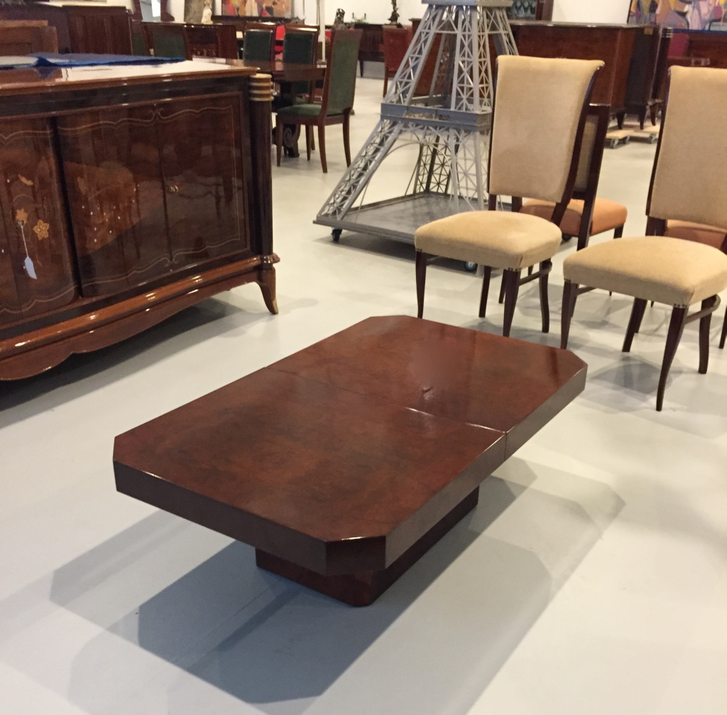 french art deco burl coffee table modernism