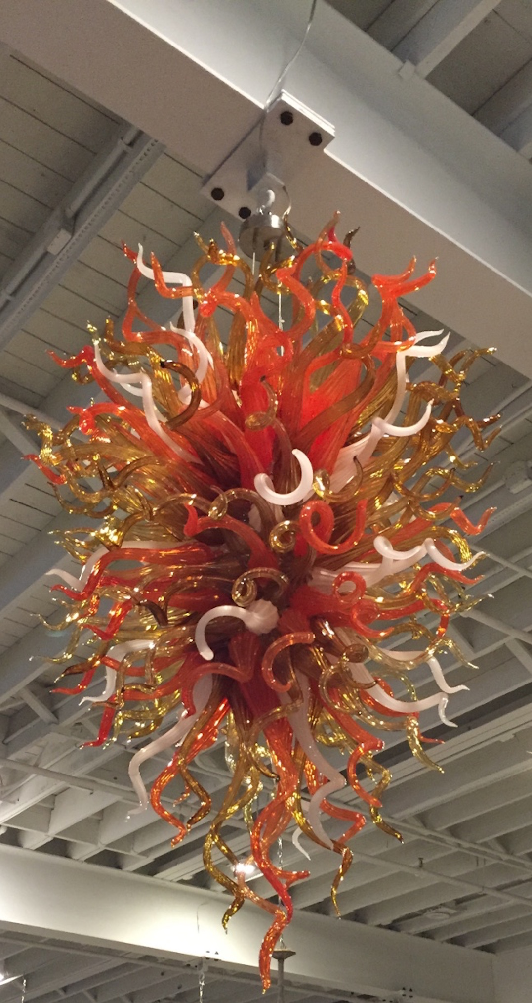 Hand Blown Glass Chandelier In The Style Chihuly