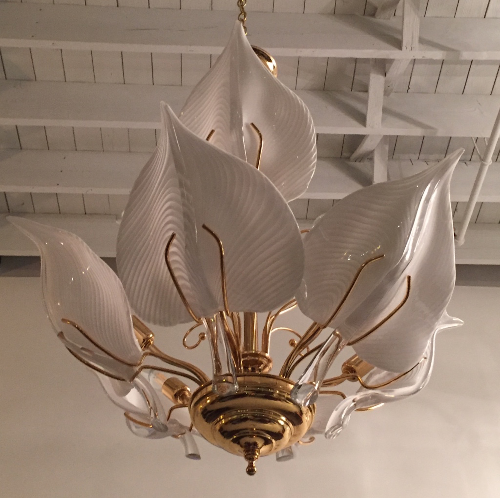 Italian Mid Century Murano Glass Calla Lilies Chandelier
