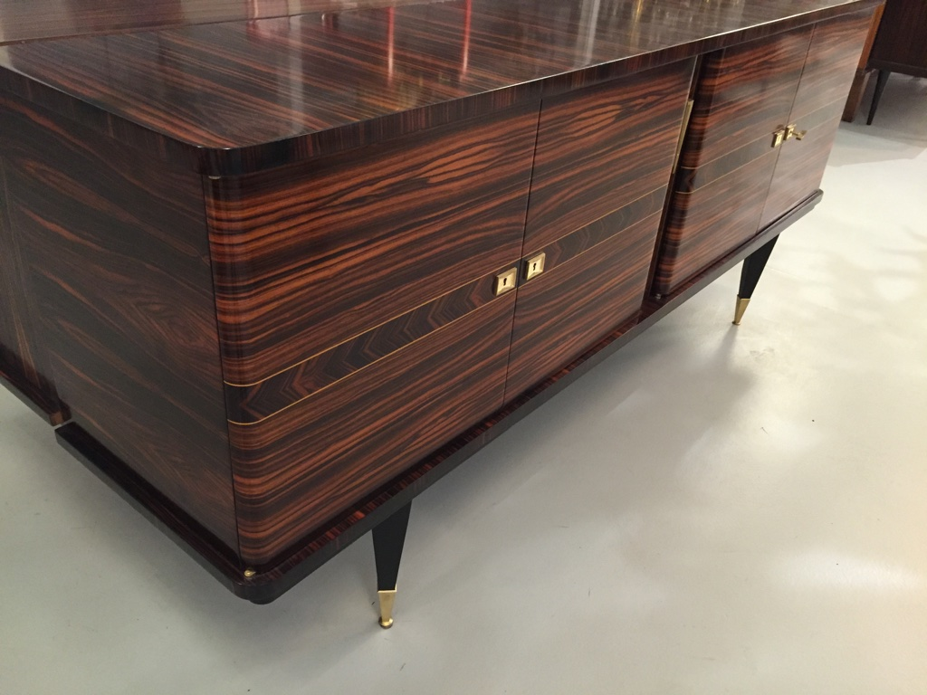 French Art Deco Exotic Macar Ebony Buffet With Dry Bar C