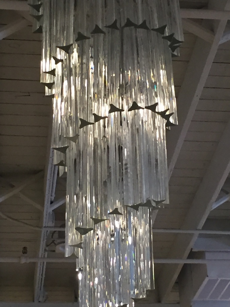 Mid Century Italian Murano Spiral Glass Chandelier By