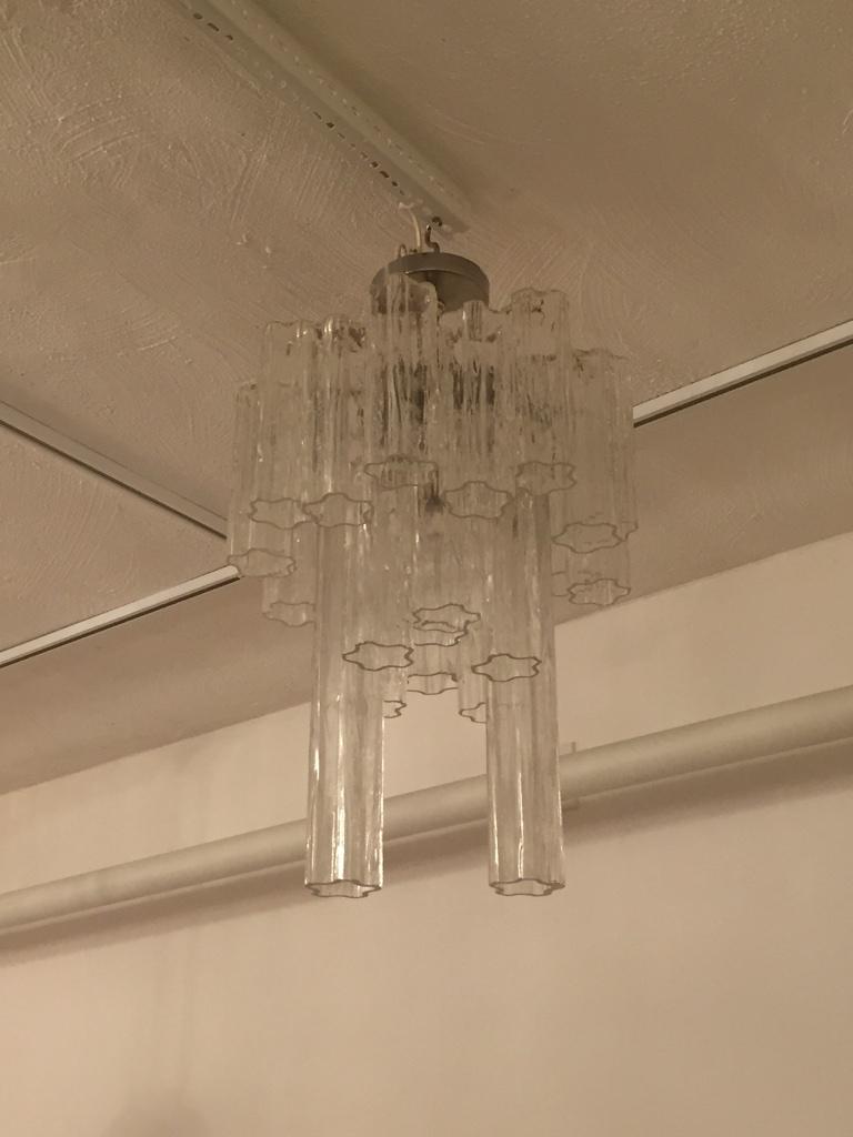 Round Mid Century Italian Tronchi Glass Chandelier Modernism