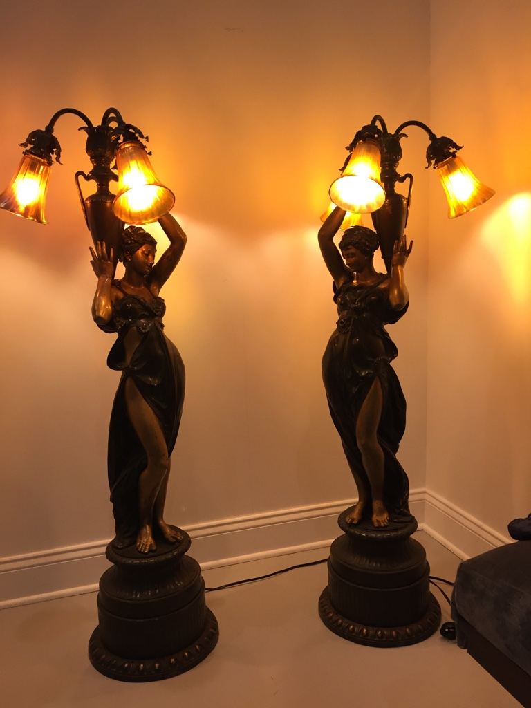 Stunning Pair Of Two French Bronze Ladies Torchiere