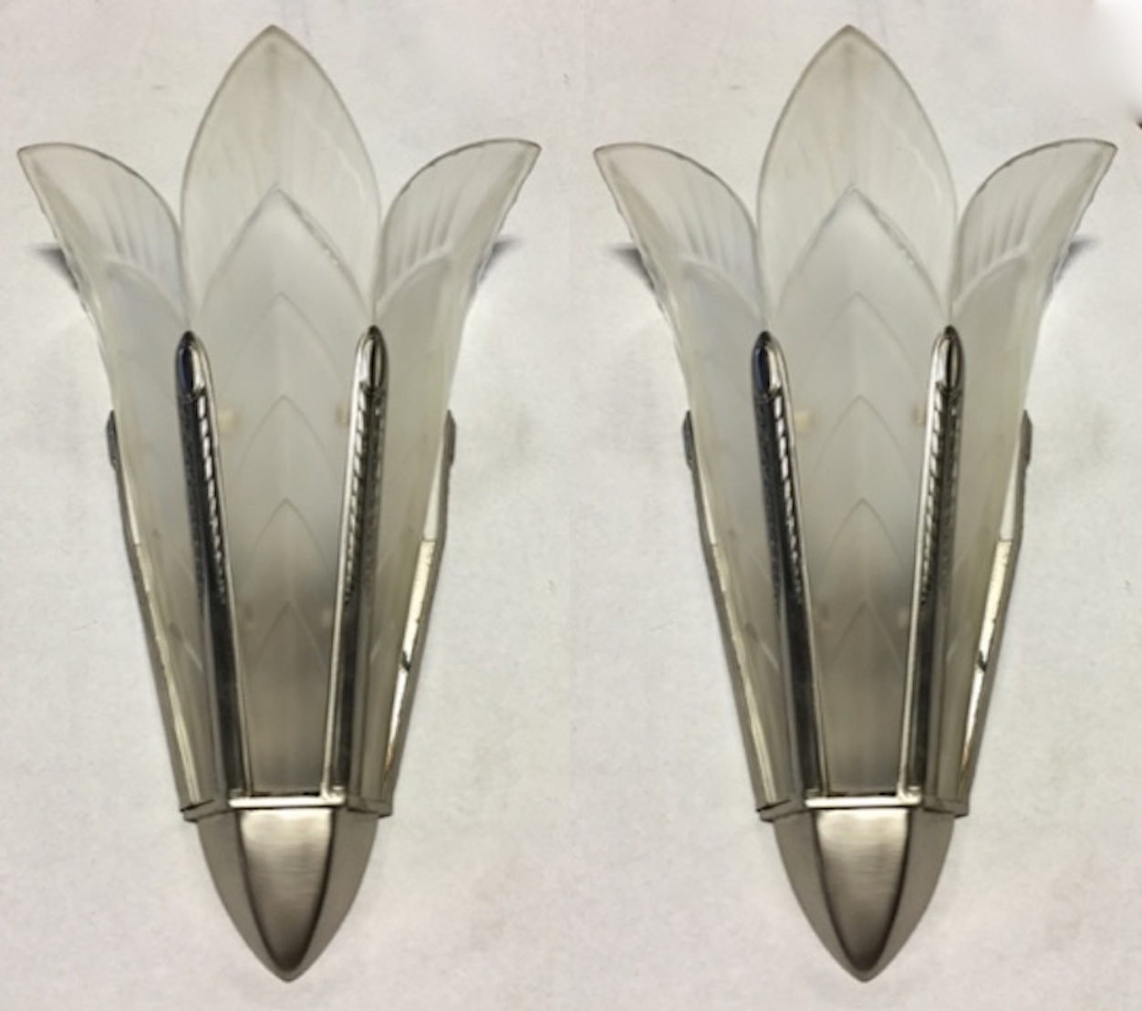 Art Deco Wall Sconces a pair of signed sabino french art deco wall sconces | modernism