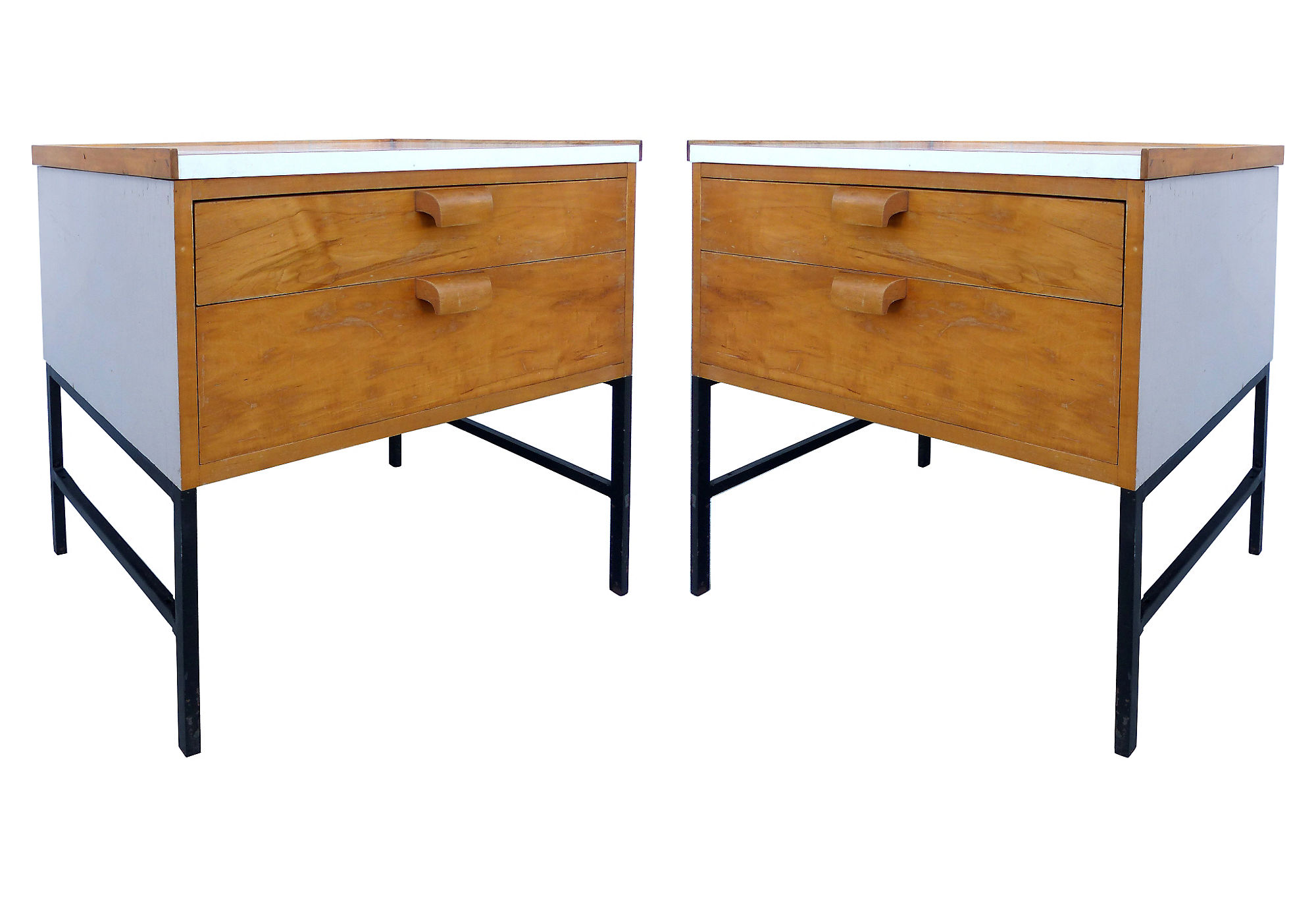 Mid century modern nightstands by jens risom for knoll