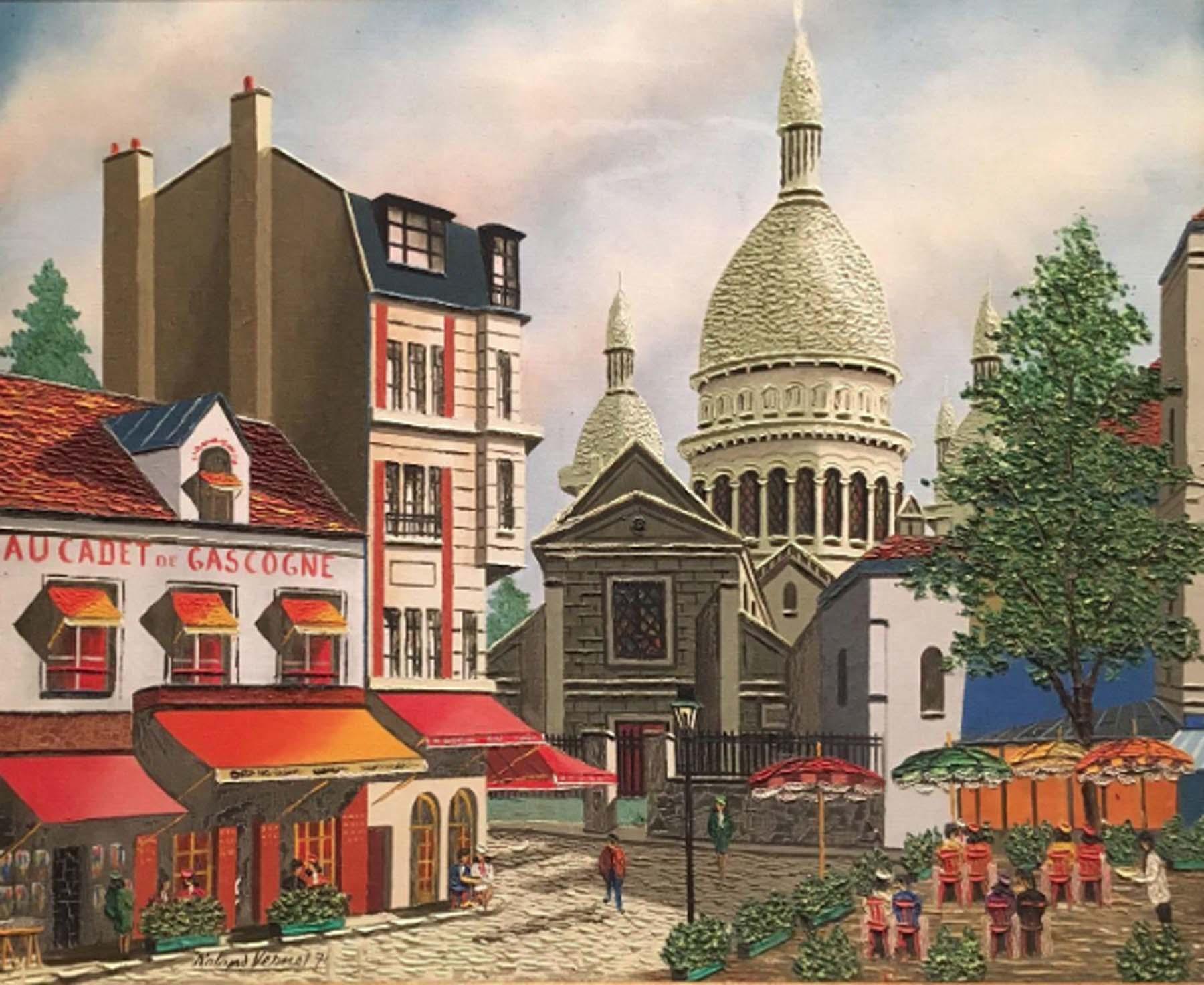 Raymond Vernet Montmartre 1970 Oil On Canvas Listed