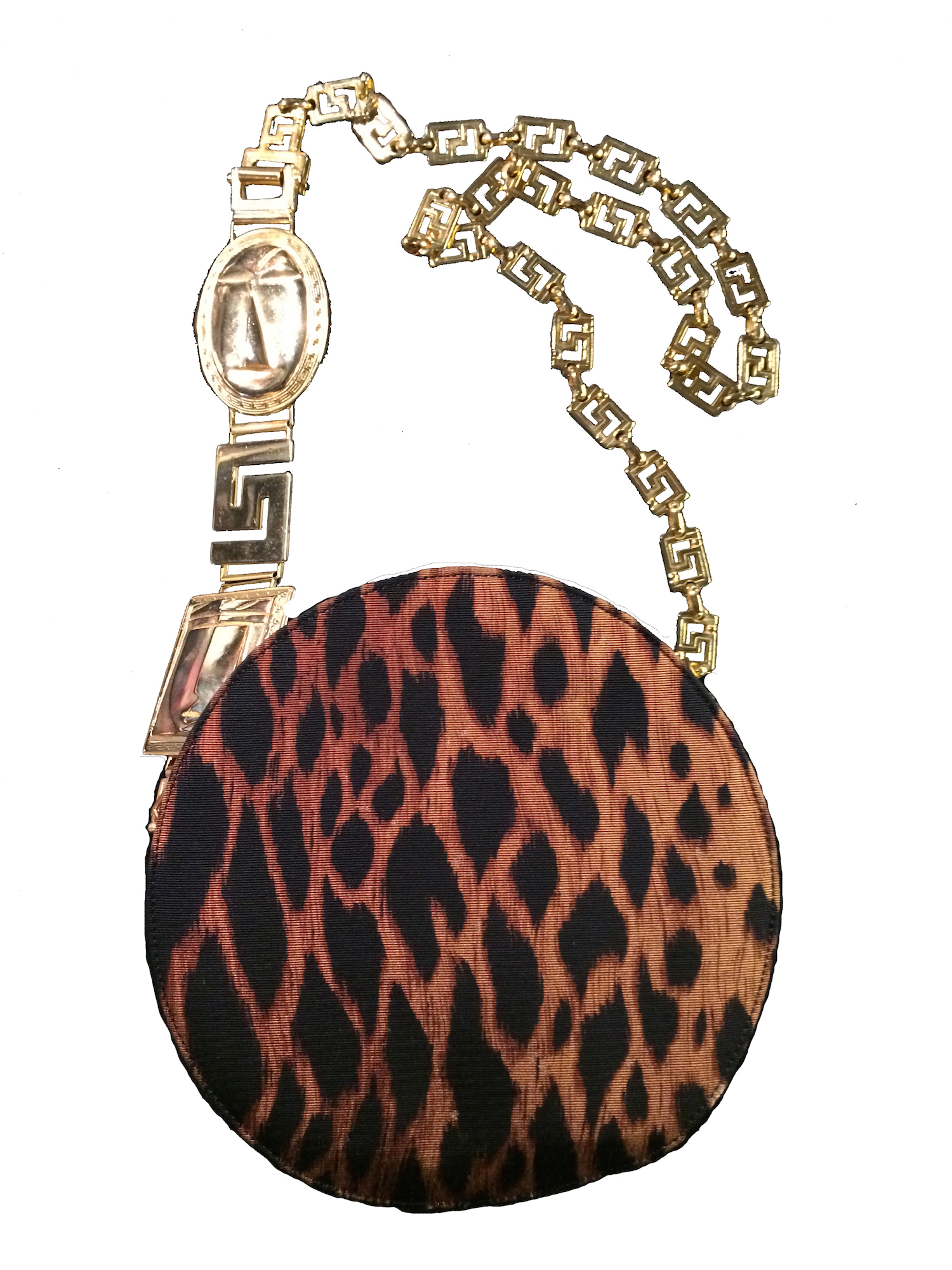 Versace Vintage Leopard Print Circle Evening Bag With