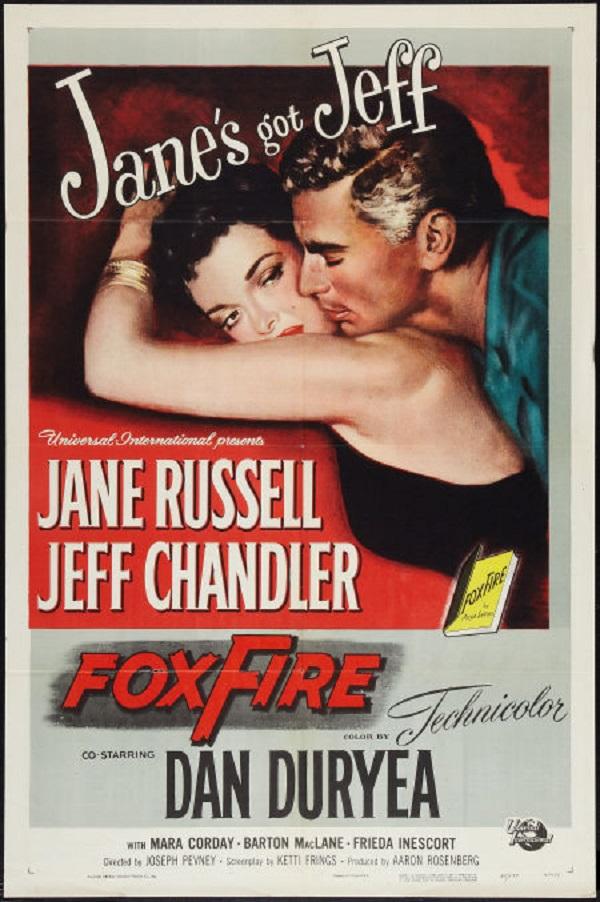 original movie poster foxfire jane russell  jeff chandler