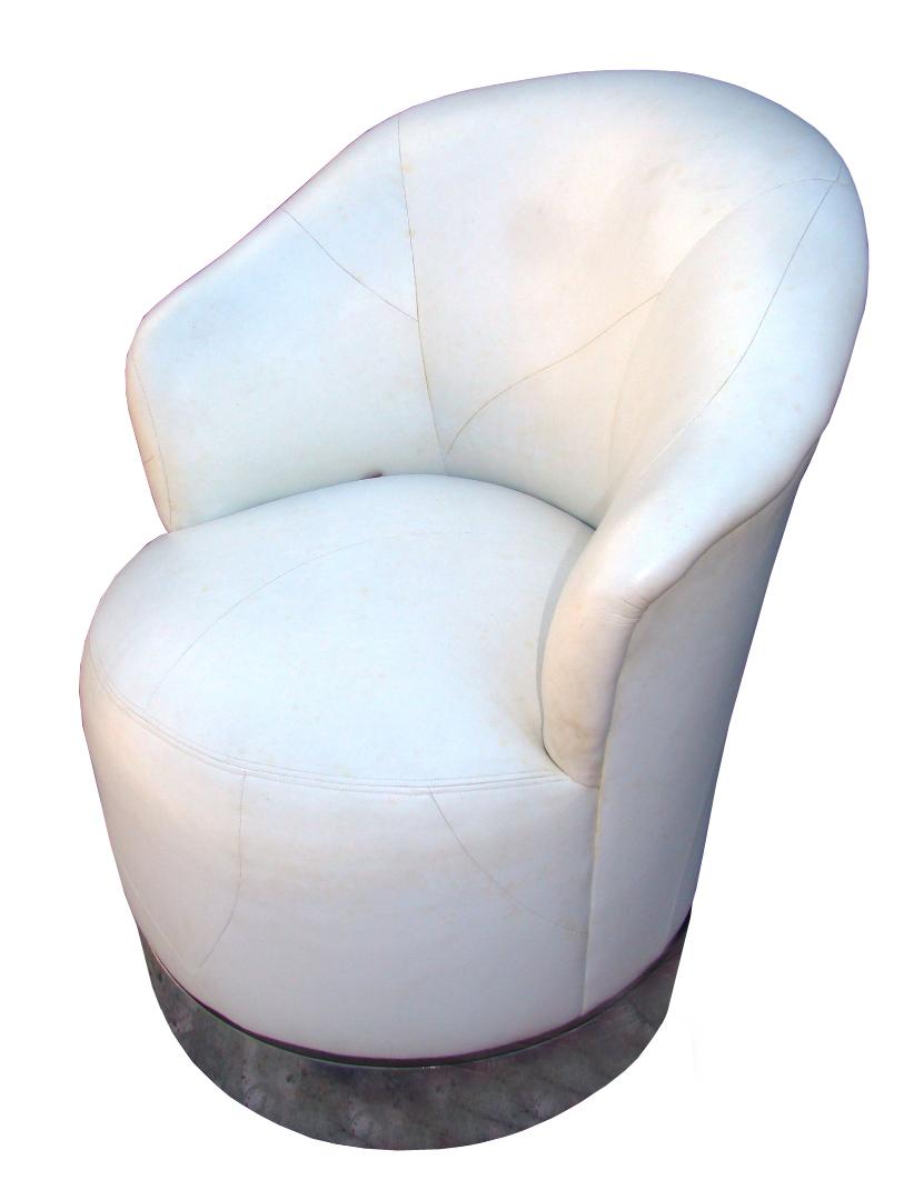 robert scott pair leather 80 39 s swivel club chairs chrome modernism