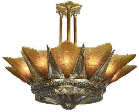 French Marseille 12 Light Art Deco Slip Shade Chandelier