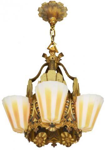 Williamson Slip Shade Art Deco Five Slip Shade Chandelier Modernism