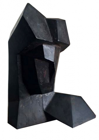 Charles Perry Bronze Cubist Head Signed And Dated Modernism