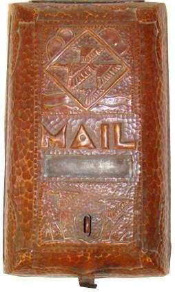 Art Deco Hand Hammered Copper Mailbox Modernism