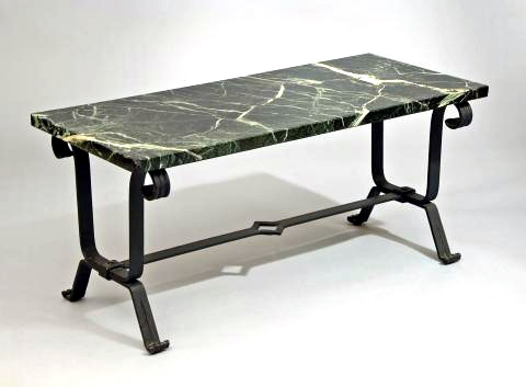 French Wrought Iron Art Deco Coffee Table, C. 1937