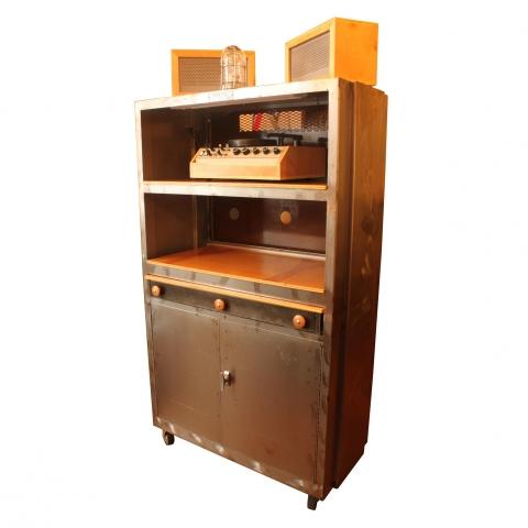 Vintage Machine Shop Cabinet Industrial Bar Audio Liquor