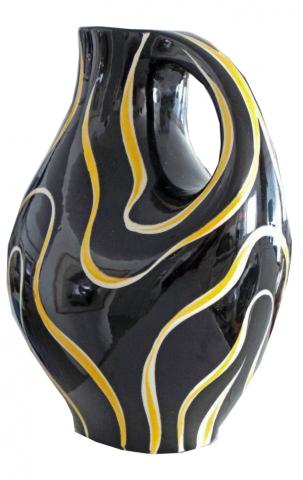 Yellow And Black Ceramic Pitcher Vase Modernism