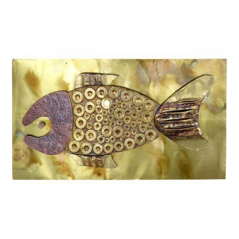 Mid Century Brass And Copper Fish Wall Sculpture Modernism