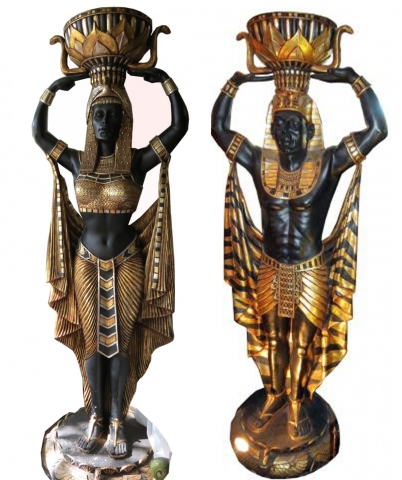 Pair Life Size Art Deco Egyptian Revival Pharaoh Statues