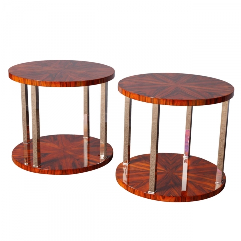 pair art deco starburst and nickel streamline coffee tables art deco style furniture occasional coffee