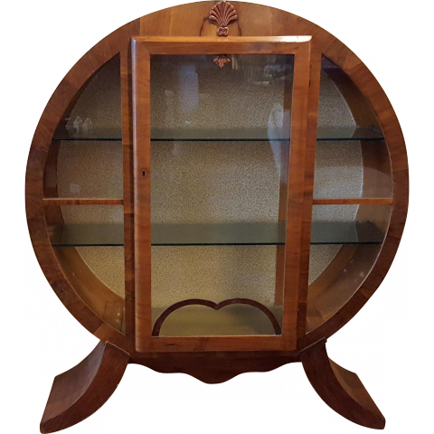 Vintage Art Deco Round Glass Front Locking Curio Cabinet