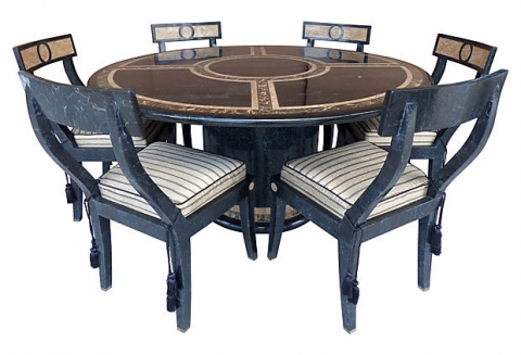 Tessellated Stone Dining Table Amp Matching Chairs Modernism