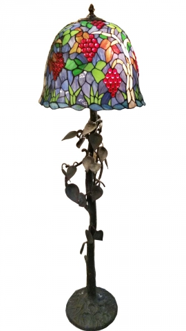 Tiffany Style Floor Lamp Tree Trunk And Vine Leaves Base Modernism