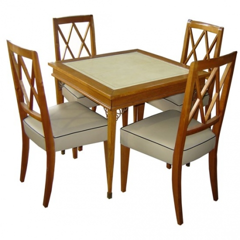 adnet french art deco card table four chairs modernism. Black Bedroom Furniture Sets. Home Design Ideas