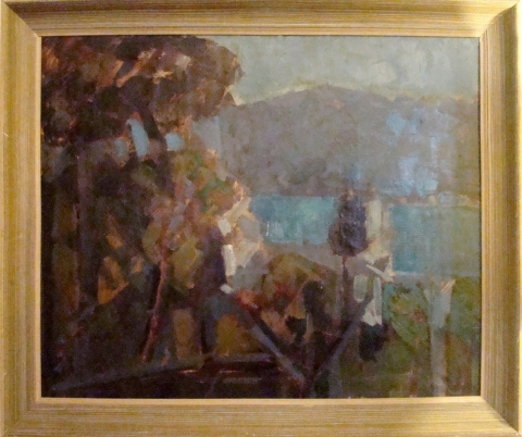 Mid Century Modern Rich Impressionist Landscape Oil