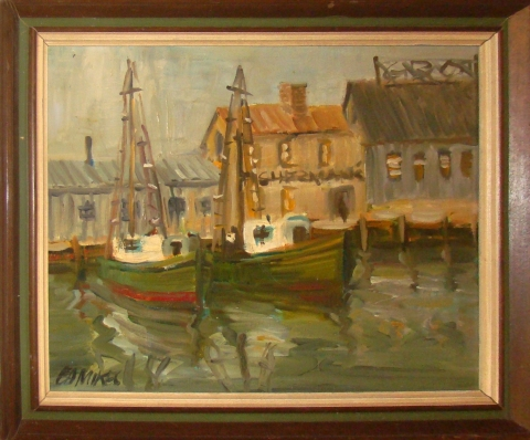 Mid Century Modern Oil Painting Of Fishing Boats In Harbor