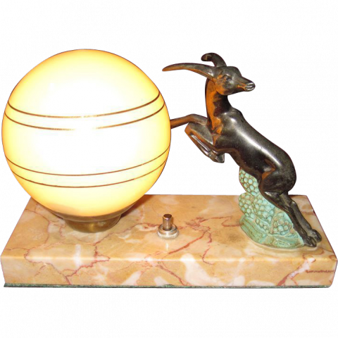 French Art Deco Gazelle Lamp With Marble Base C 1920 S