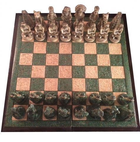 Antique Wood And Stone Mayan Mexican Chess Set Modernism