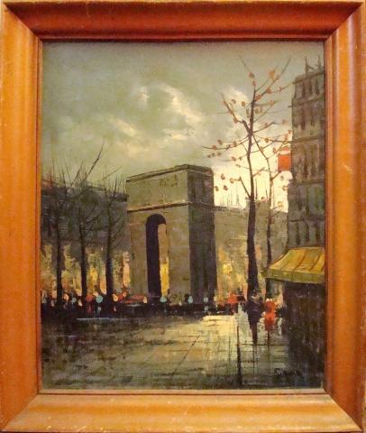 Mid Century Modern Arch Street Scene Oil Painting Modernism