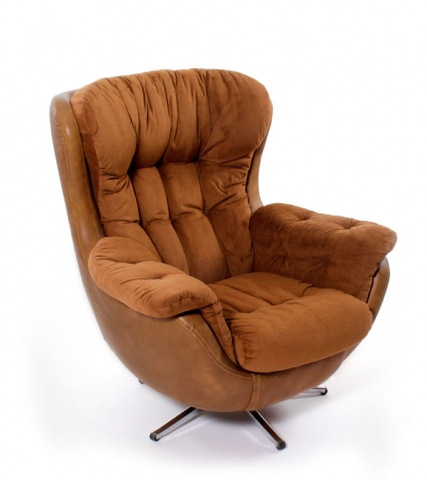Vintage 1970s Overstuffed Arm Chair Modernism