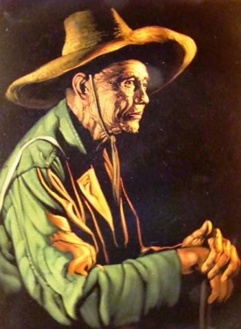 Superb Oil Painting On Velvet Signed By The Artist Modernism