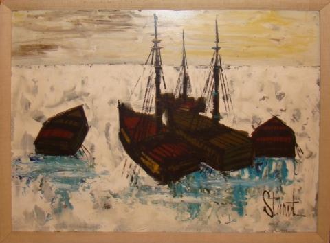 Distinctly Mid Century Modern Oil Painting Harbor Scene ...